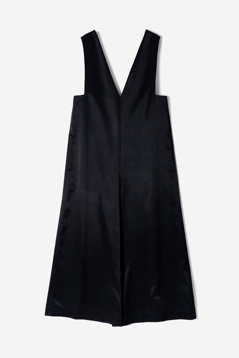 Vintage Pure Satin Jumpsuit in Black