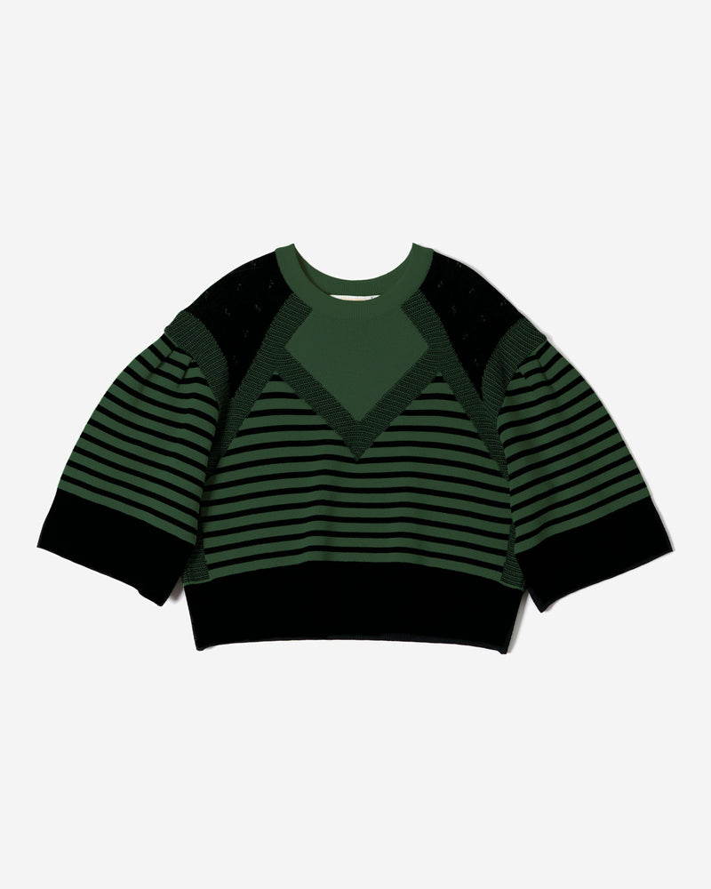 Pattern Stripe Knit Top in Green Mix