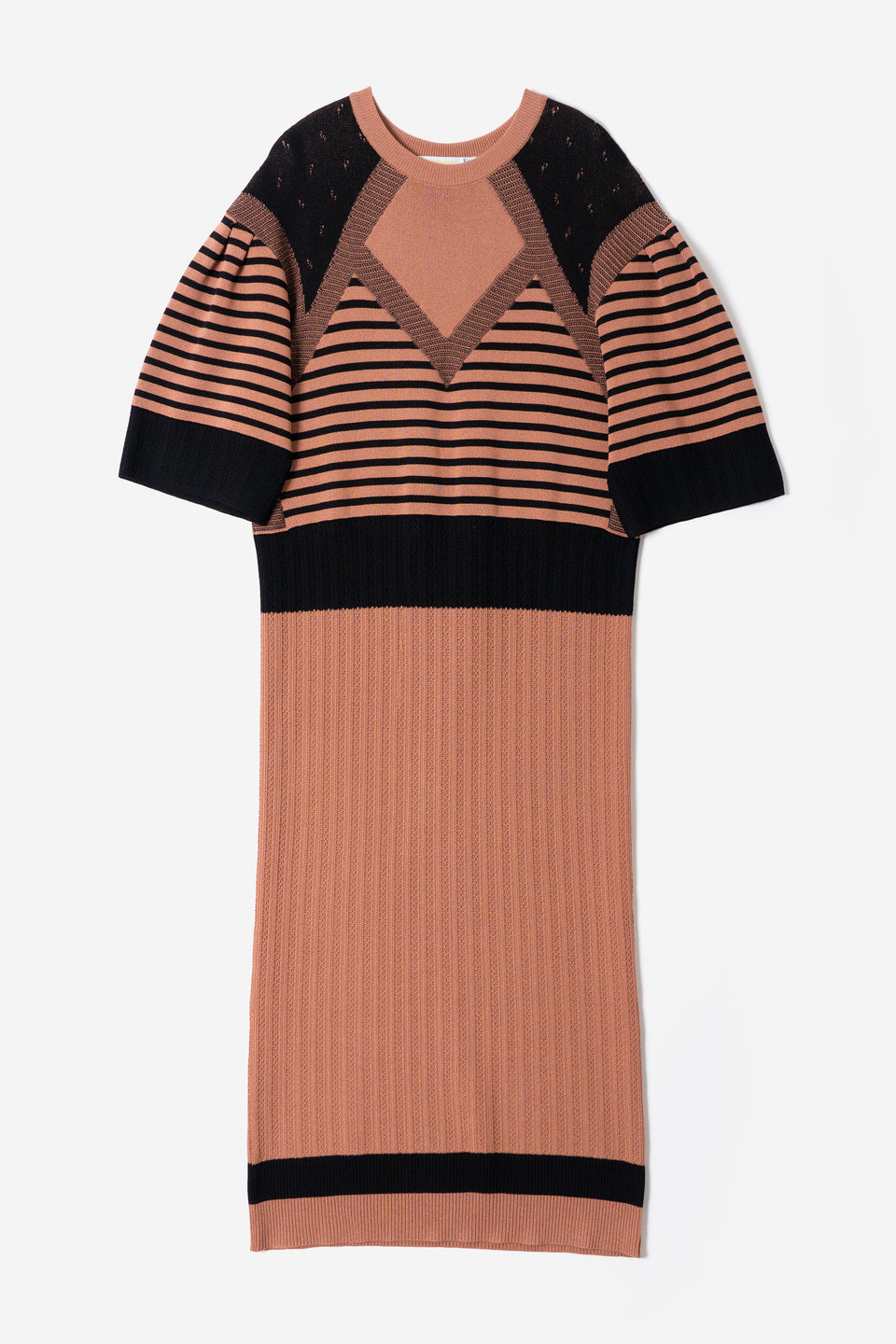 Pattern Stripe Knit Dress in Terracotta Mix