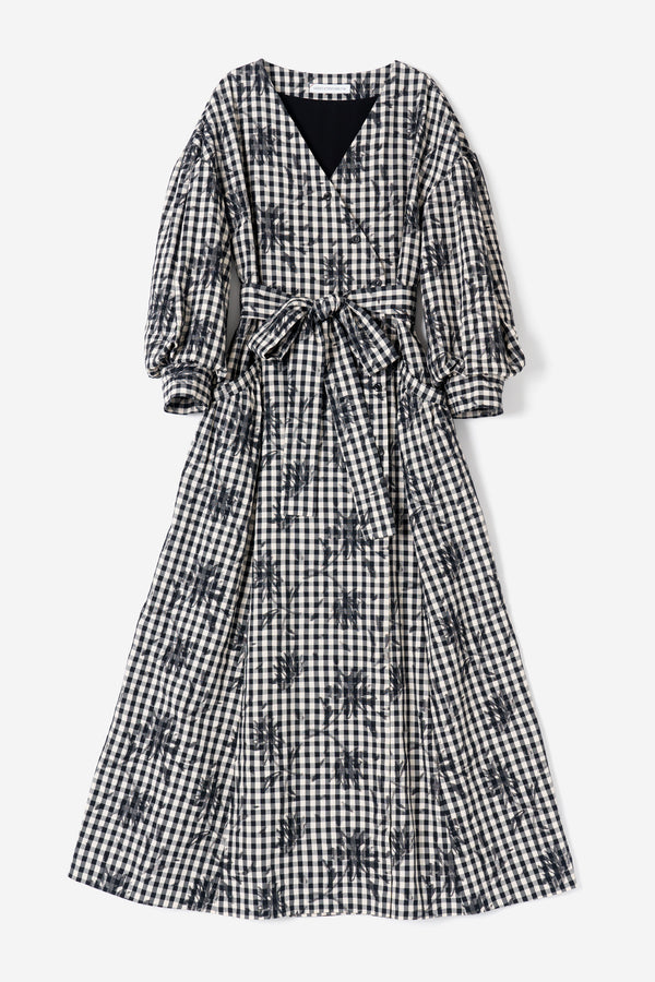 Gingham Check Flower Dress in Black Mix