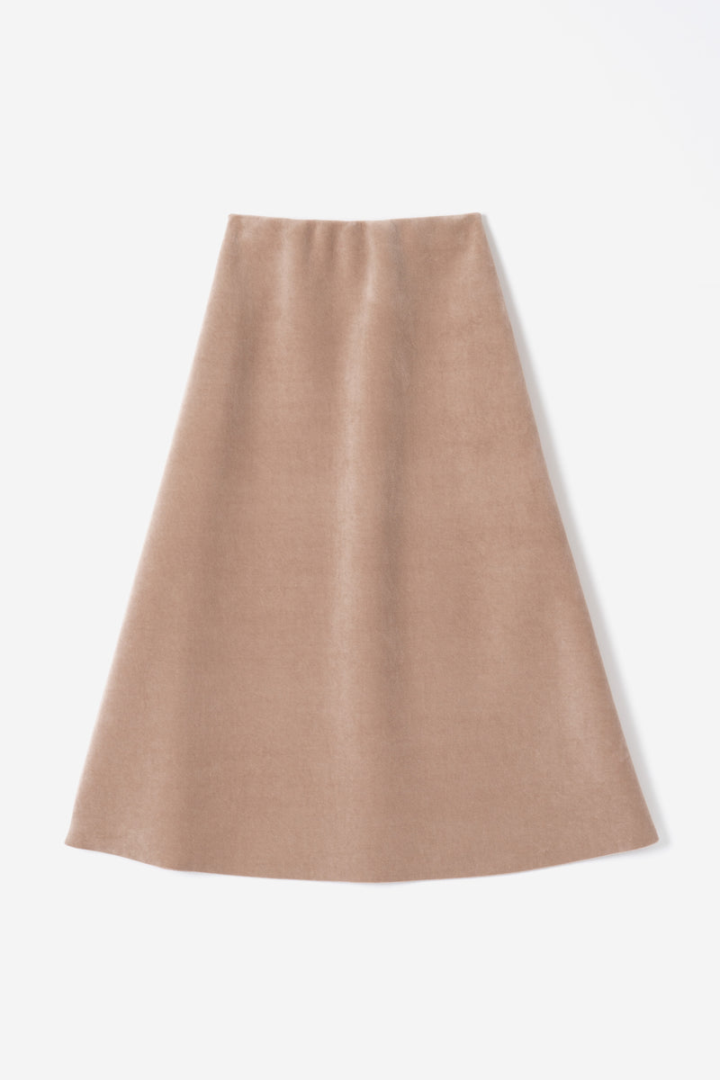Velour Bonding Skirt in Beige