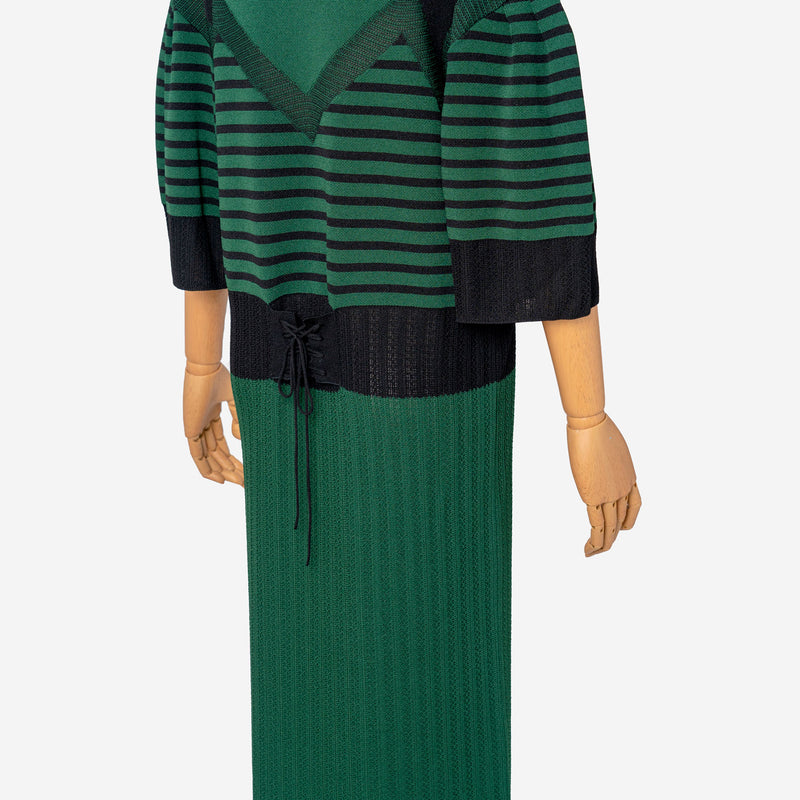 Pattern Stripe Knit Dress in Green Mix