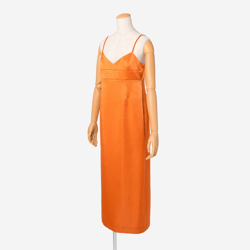 Vintage Pure Satin Dress in Amber