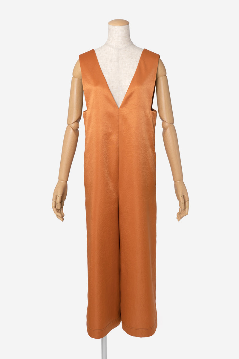 Vintage Pure Satin Jumpsuit in Amber