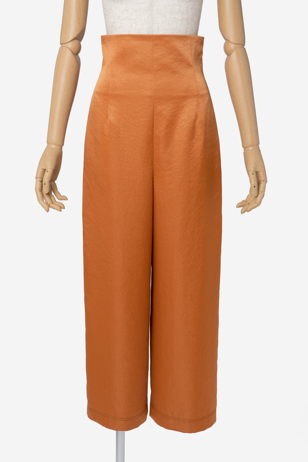 Vintage Pure Satin Wide Pants in Amber
