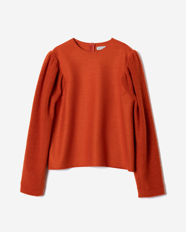 Super140 Milled Melton×Boa Wedge Sleeve in Orange