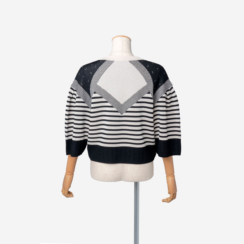Pattern Stripe Knit Top in White Mix