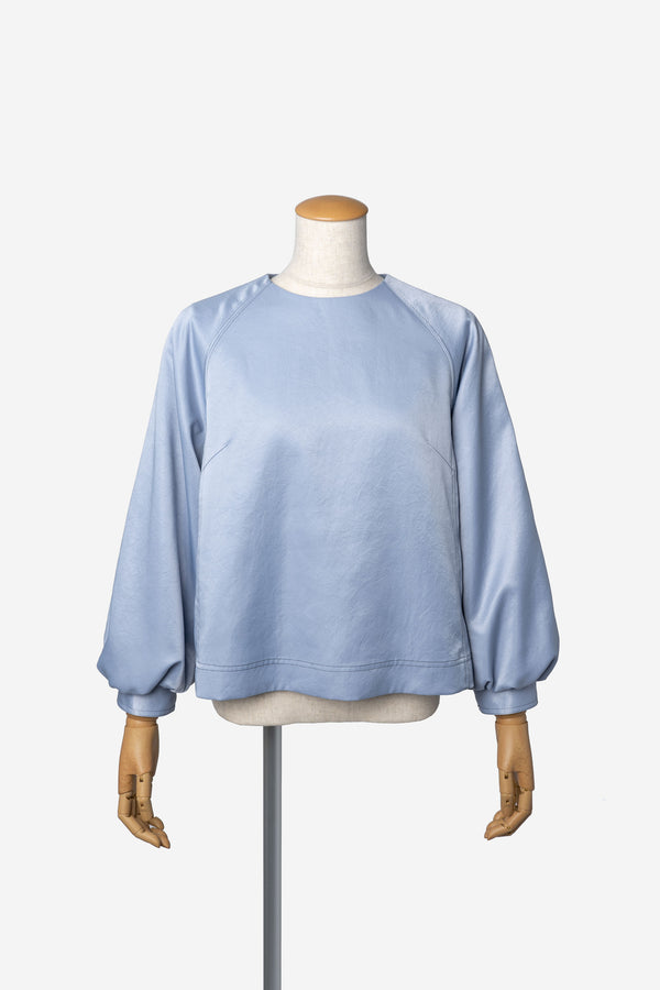 Vintage Pure Satin Puff Blouse in Light Blue