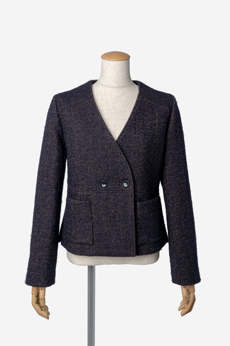 Alpaca Herringbone Collarless Jacket in Brown Mix