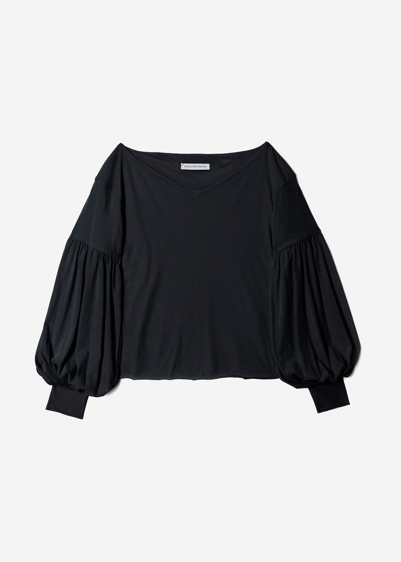 Limited Cosmorama High Gauge V-Neck Top in Black