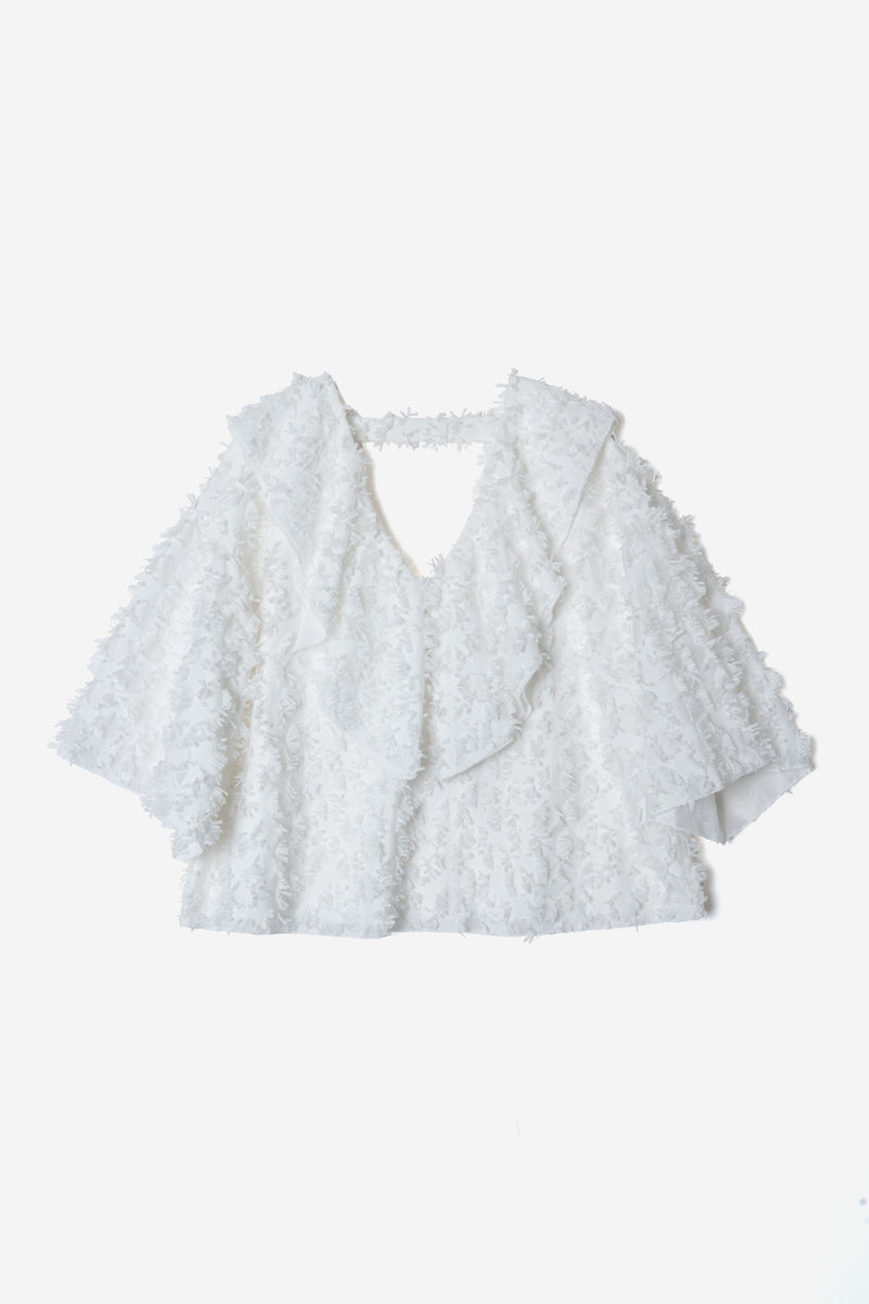 Limited Dot Fringe  Gather Blouse in White