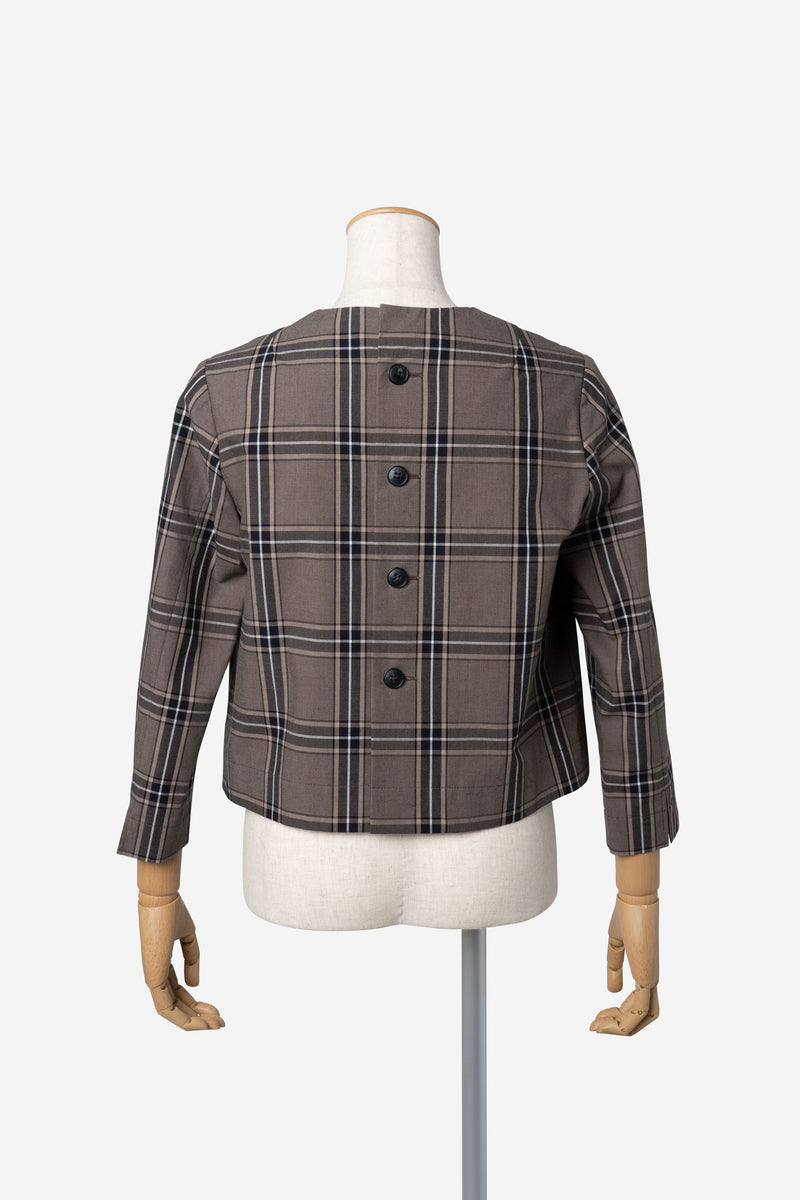 Classic Check Blouse in Brown Mix