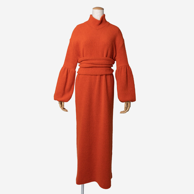 Super140 Boa Dress in Orange