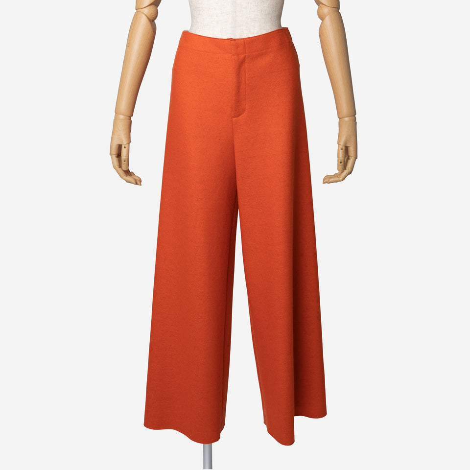 Super140 Milled Melton Wide Pants in Orange