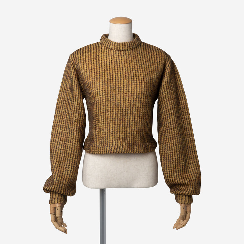 Mohair Knitting Short Top in Mustard