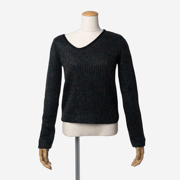 Mohair Knitting Irregular V-Neck in Navy