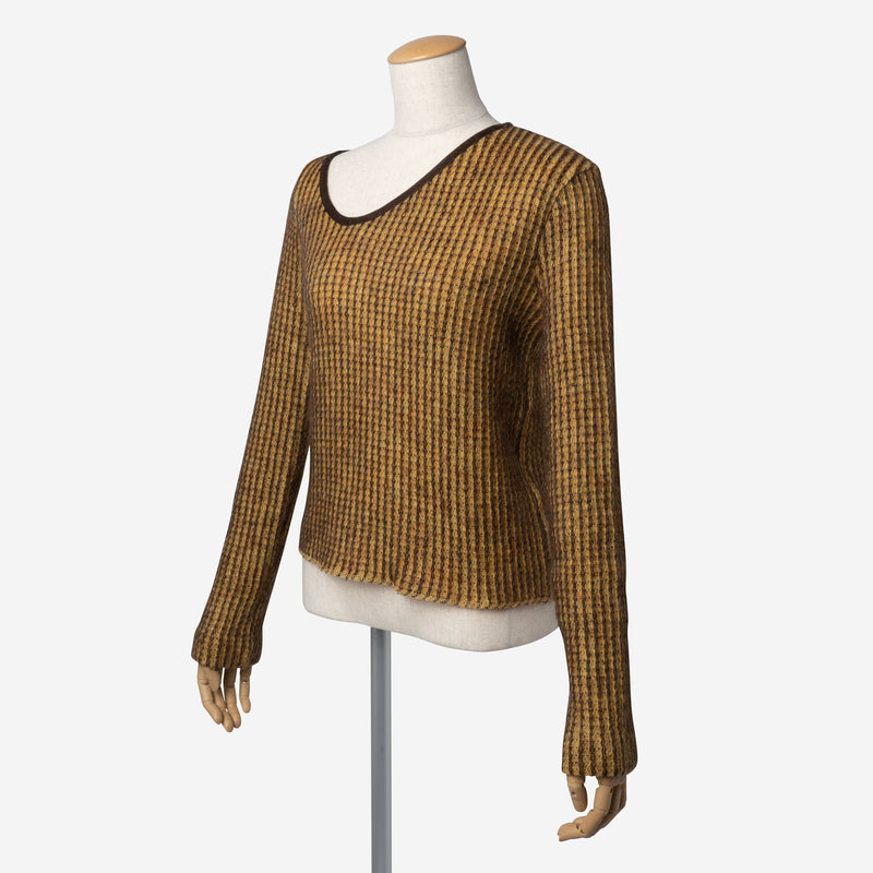 Mohair Knitting Irregular V-Neck in Mustard