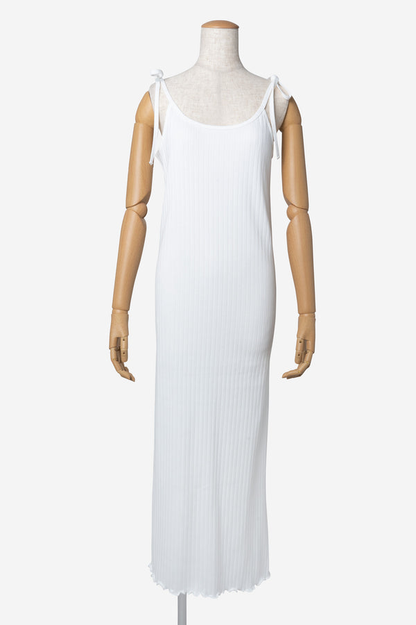 Random Rib Camisole Dress in White