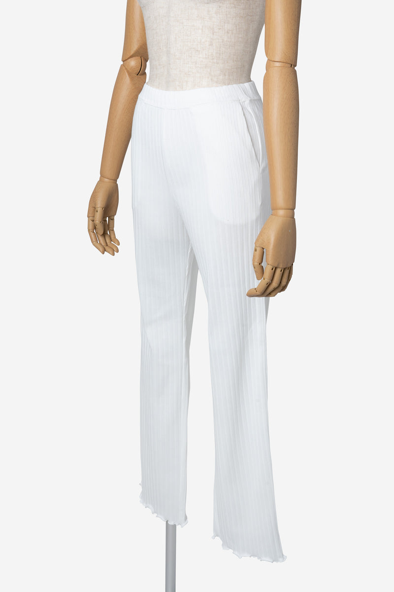 Random Rib Pants in White