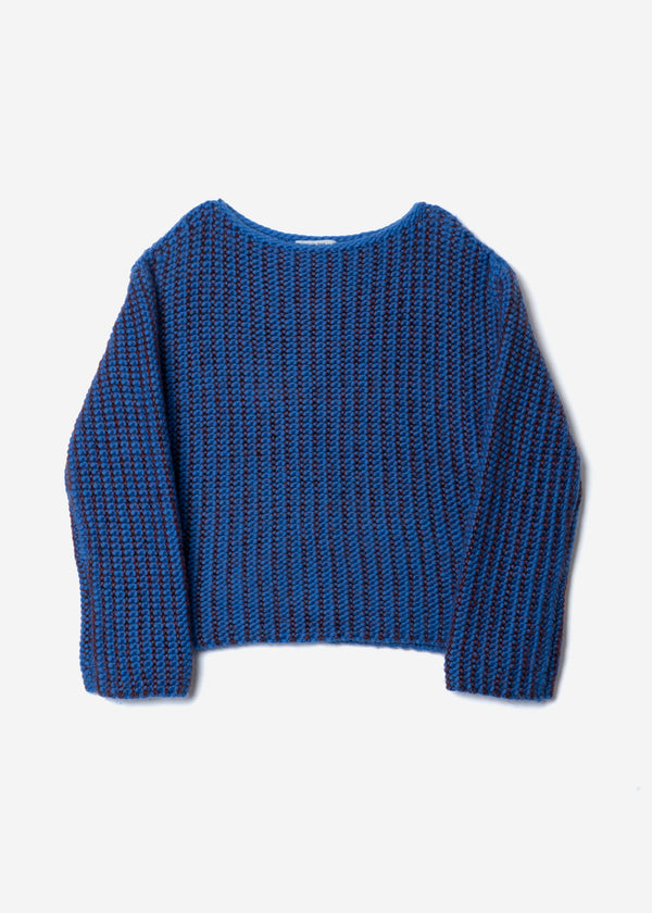 Roving Mohair Knit Tops in Blue