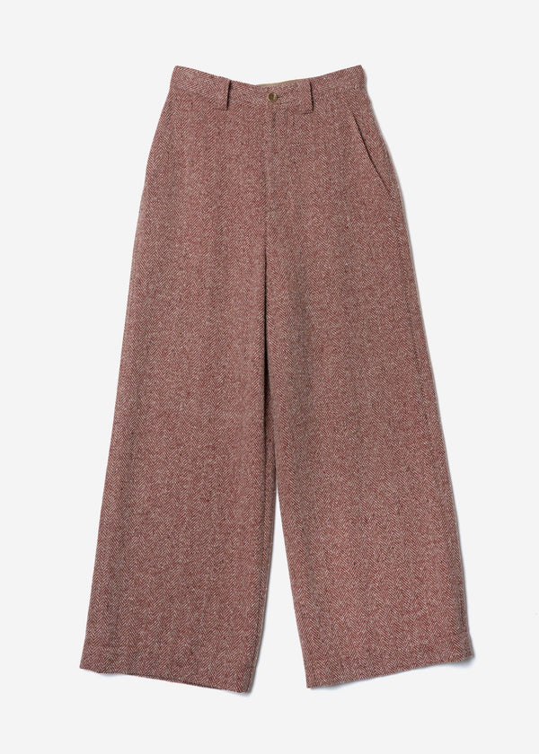 Jazz Nep Tweed Wide Pants In Red Mix