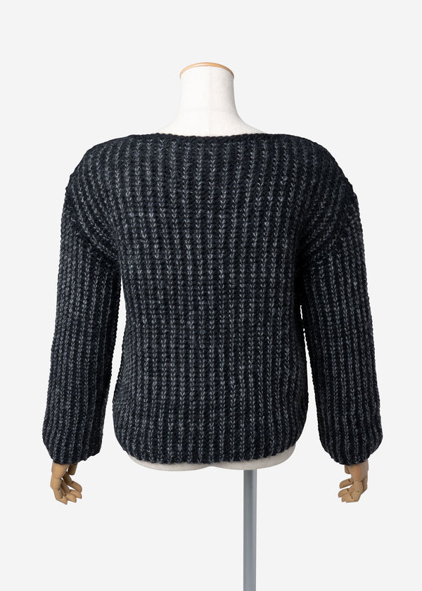 Roving Mohair Knit Tops in Black