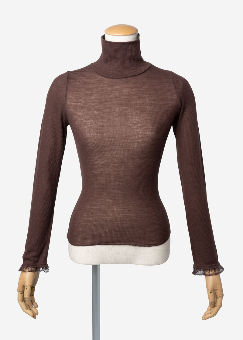 Super Wool Rib High Neck In Brown
