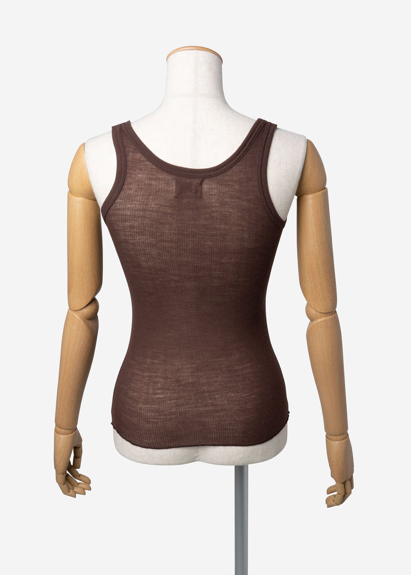 Super Wool Rib Sleeveless In Brown