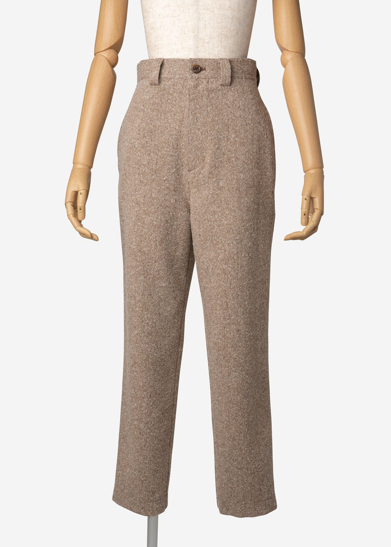 Jazz Nep Tweed Balloon Pants In Beige