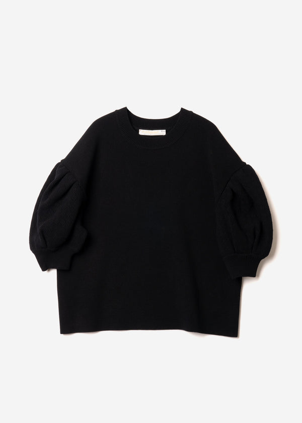 Stretch Cable Knit Drop Shoulder Puff Sleeve Sweater in Black