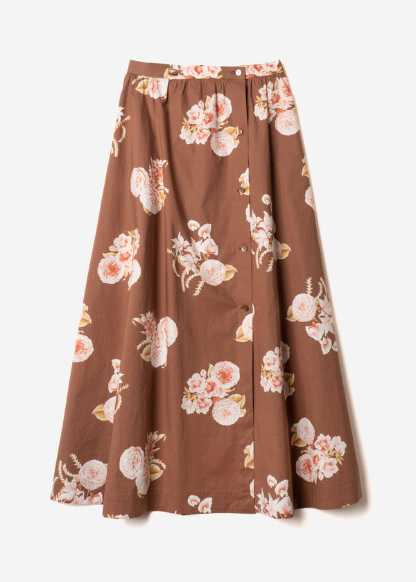 Antique Rose Print Button Front Skirt  in Brown