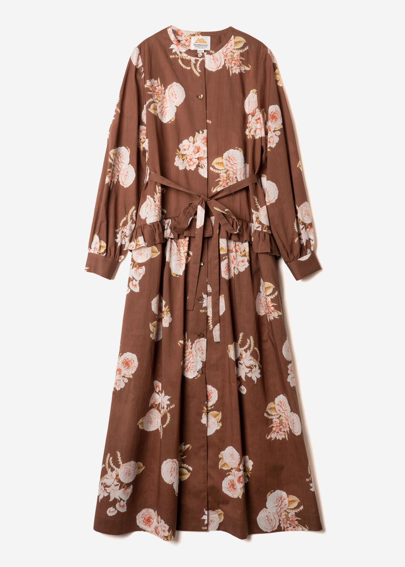 Antique Rose Print Waisted Frill Shirt Dress in Brown