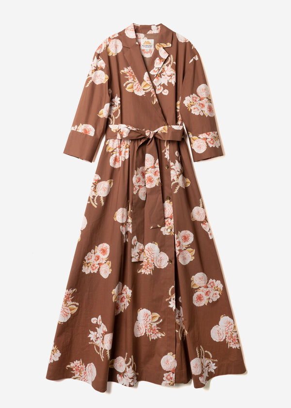 Antique Rose Print Wrap Waist Ribbon Dress in Brown