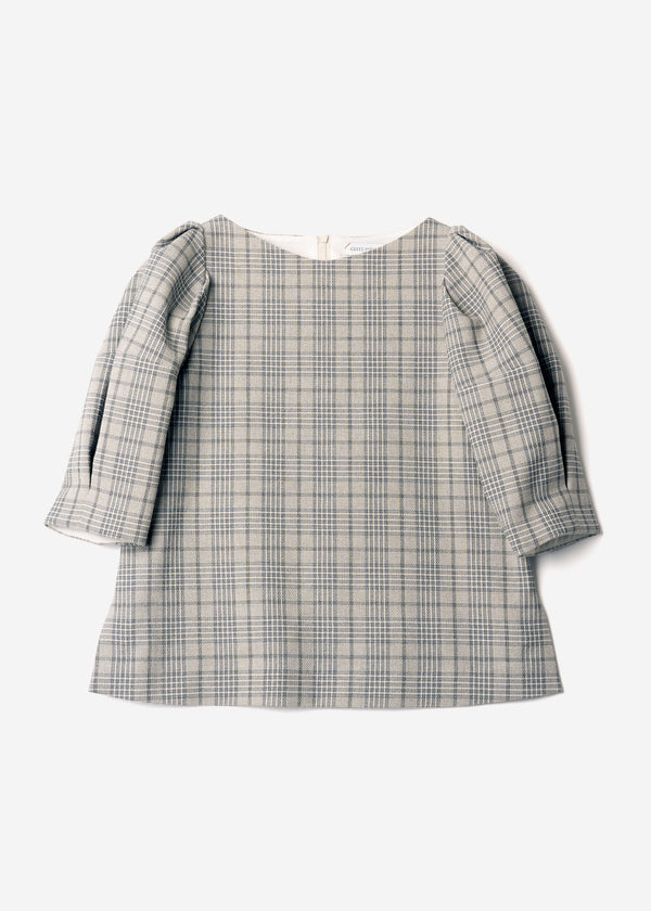 Cotton Over Plaid Puff Sleeves Blouse in Other