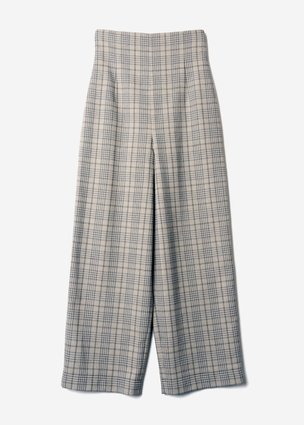 Cotton Over Plaid High Waisted Pants in Other
