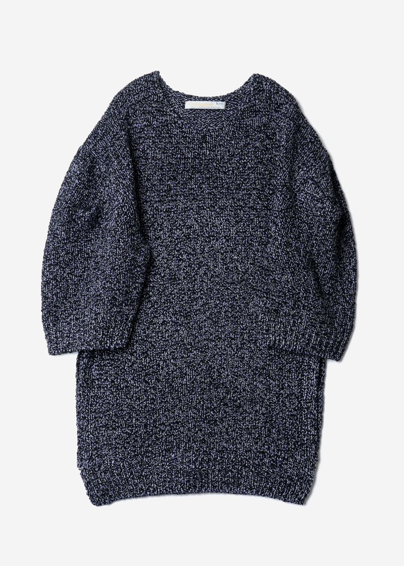 Wave Tape Knit Tunic Sweater in Navy