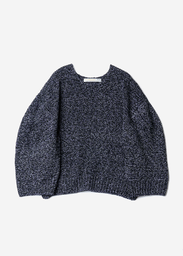 Wave Tape Knit Cropped Pullover Sweater in Navy