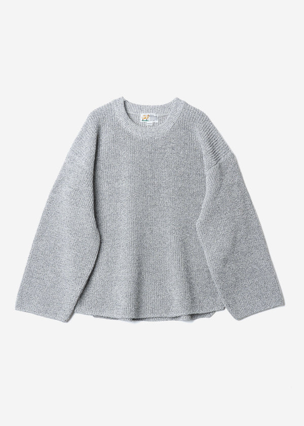 Dry Cotton Knit Drop Shoulder Sweater in Gray Mix