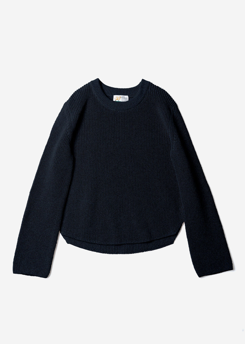 Dry Cotton Knit Cropped Sweater in Black