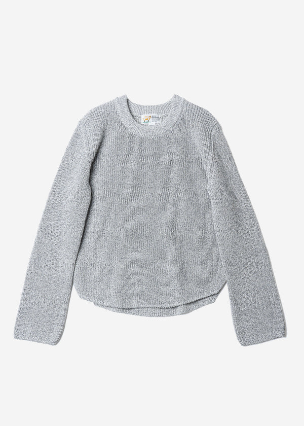 Dry Cotton Knit Cropped Sweater in Gray Mix