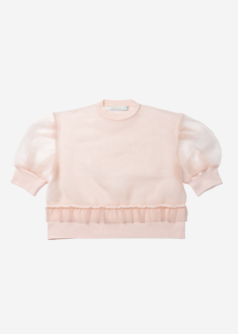 Sheer Knit Drop Shoulder Puff Sleeve Sweater in Light Pink