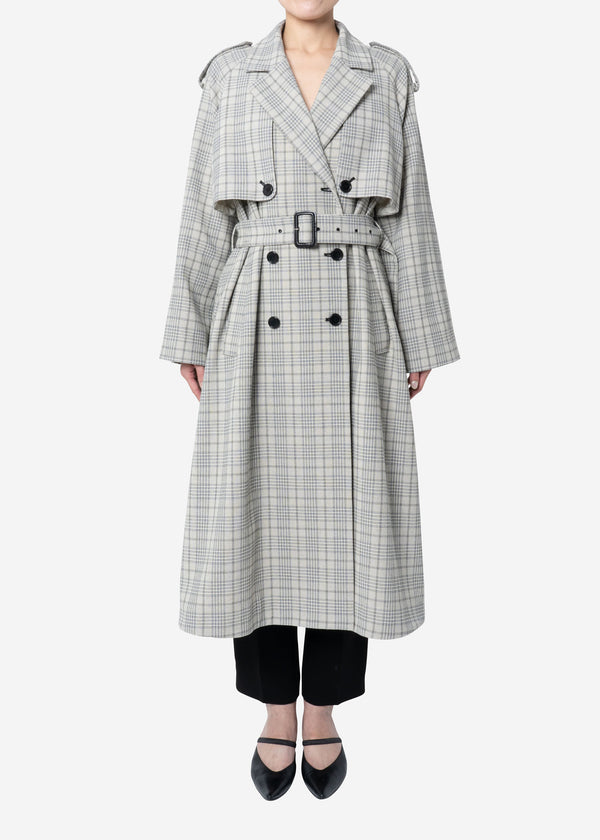 Cotton Over Plaid Trench Coat in Other