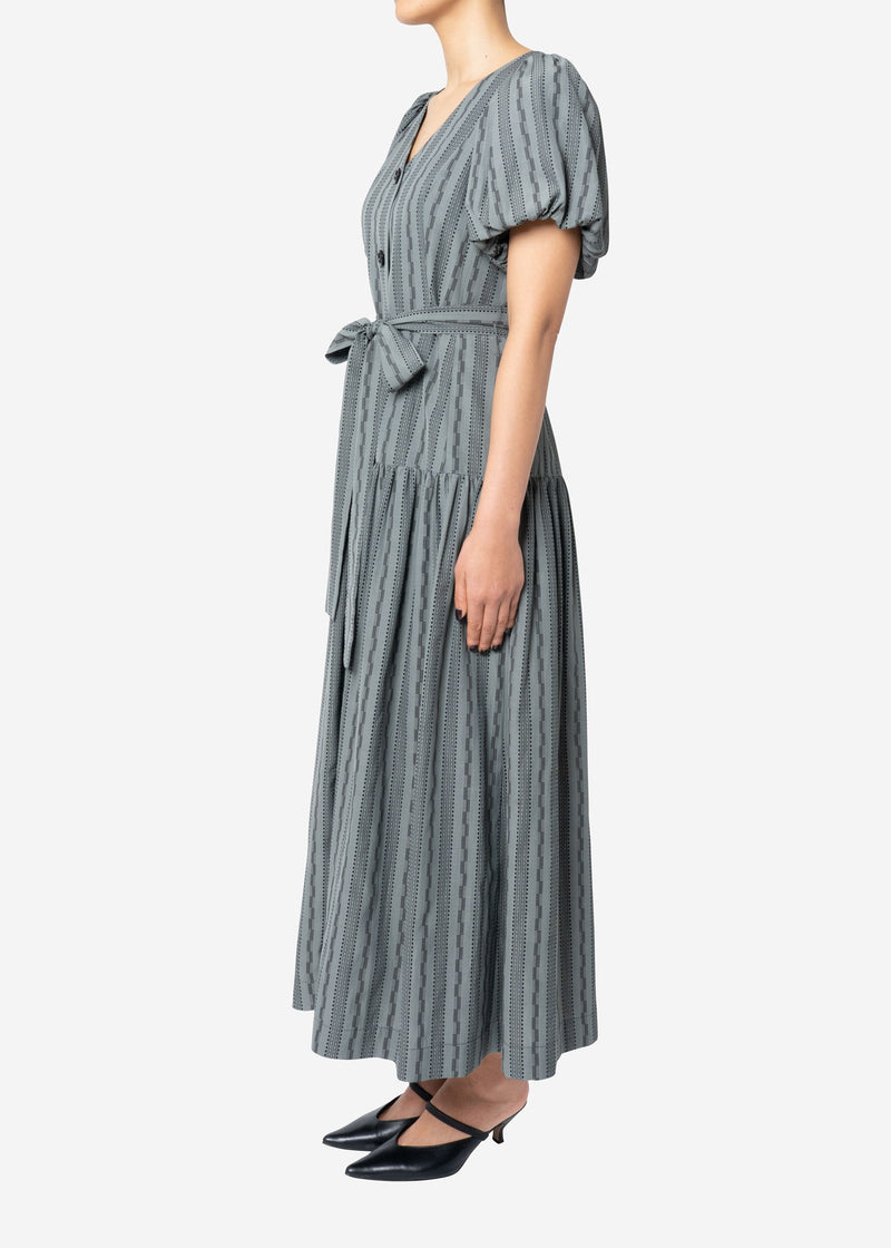 Dobby Stripes Waisted Ribbon Button Front Dress in Khaki