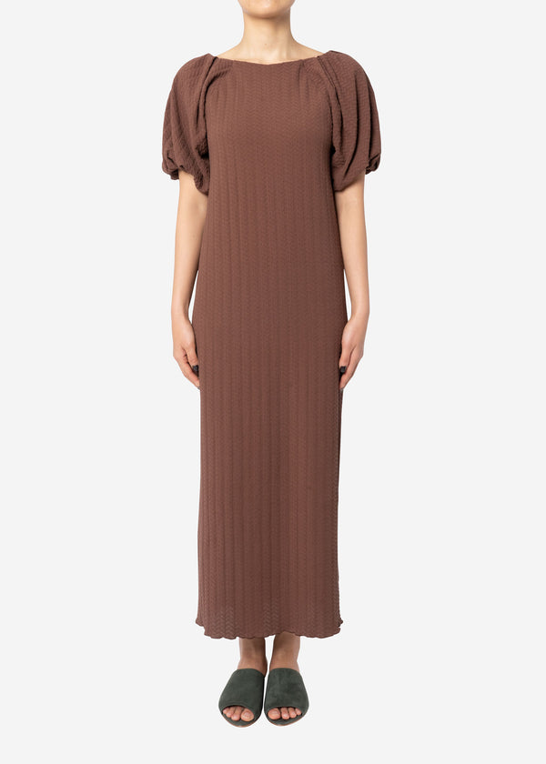 Twist Links Puff Sleeve Dress in Brown