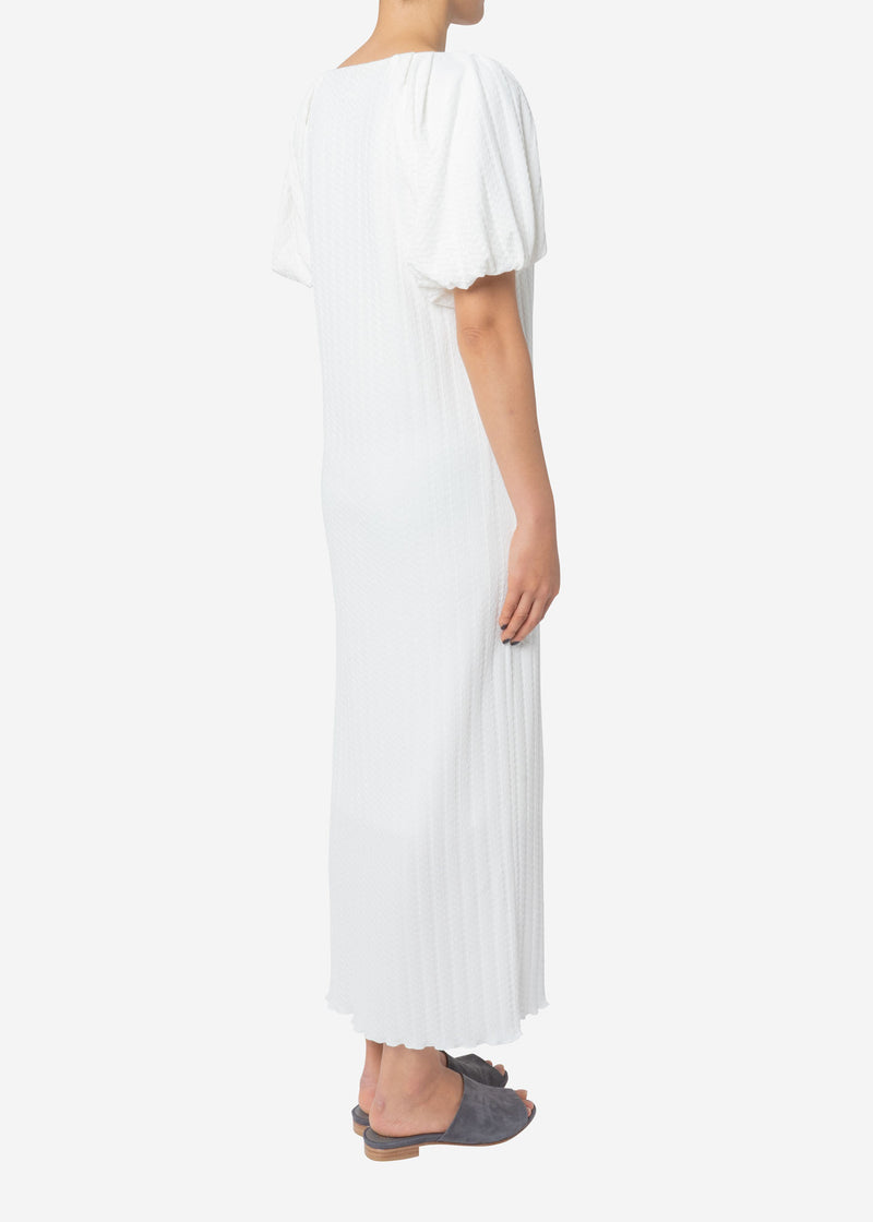 Twist Links Puff Sleeve Dress in White