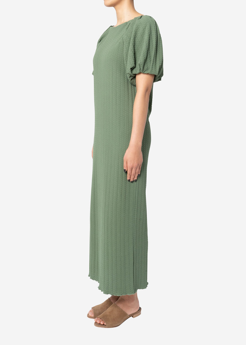 Twist Links Puff Sleeve Dress in Olive