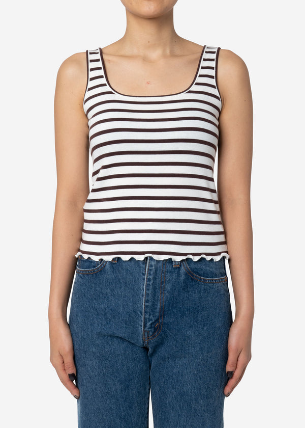 Ribbed Stripe Scoop Tank Top in Brown Mix
