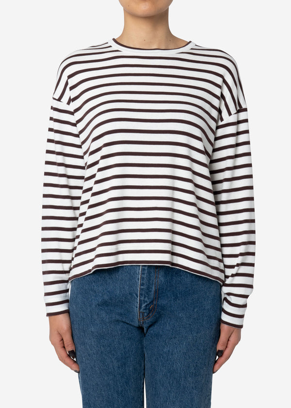 Ribbed Stripe Crew Neck Long Sleeve Top in Brown Mix