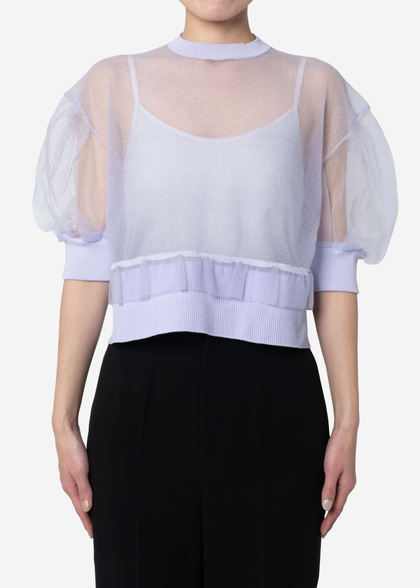 Sheer Knit Drop Shoulder Puff Sleeve Sweater in Lavender