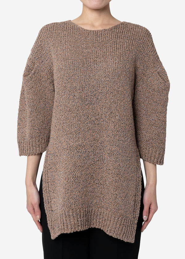 Wave Tape Knit Tunic Sweater in Beige